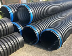 culvert pipes stacked outside